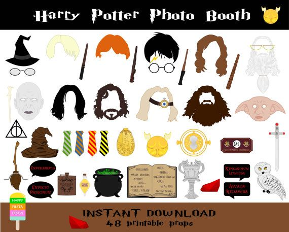 Harry Potter Photo Booth Props–48 Pieces-Printable Harry Potter Props-Wizard Par
