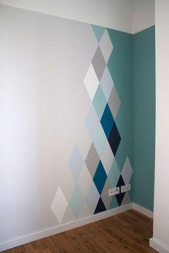 dieartigeBLOG – Wandgestaltung, Rauten in Blau- und Grautönen