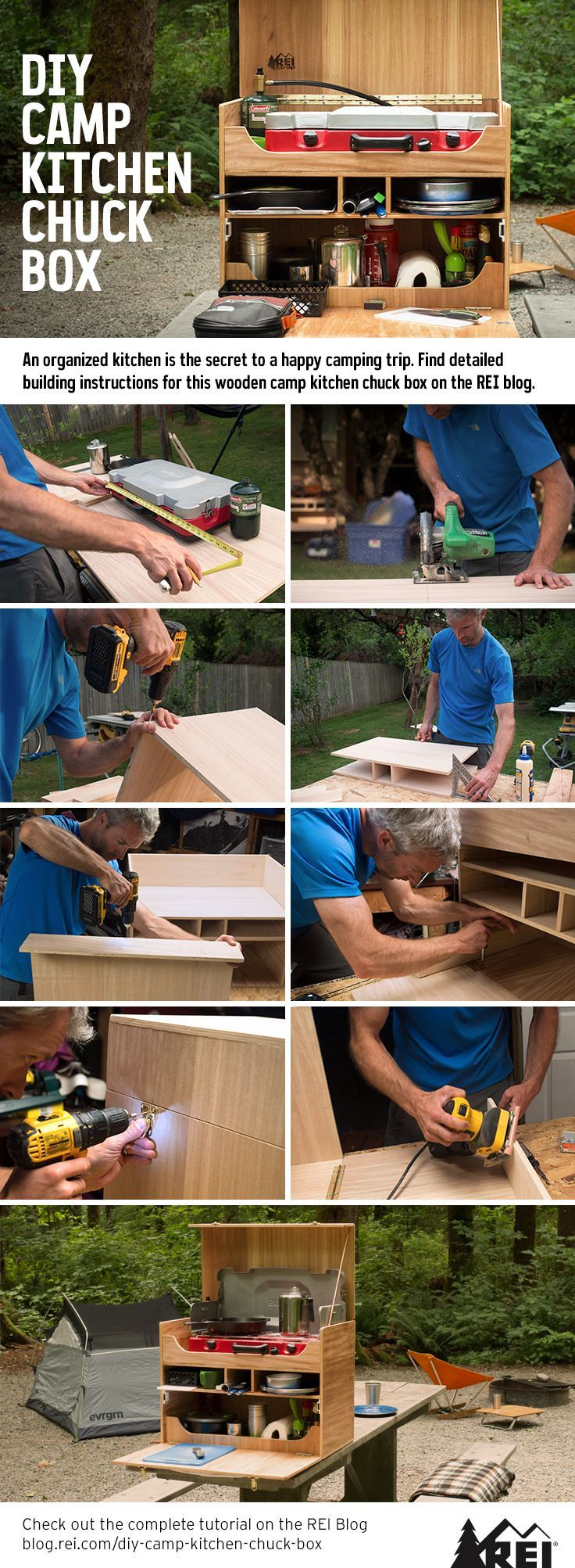 An organized kitchen is the secret to a happy camping trip. Build your own wooden