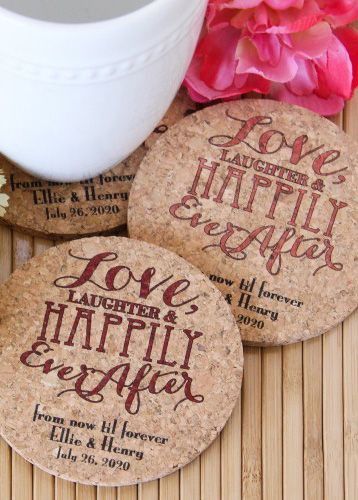 Send your guests home with 100% all natural cork coasters, personalized with your