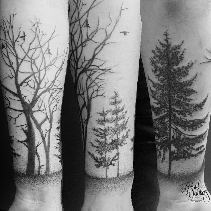 Various tree tattoos