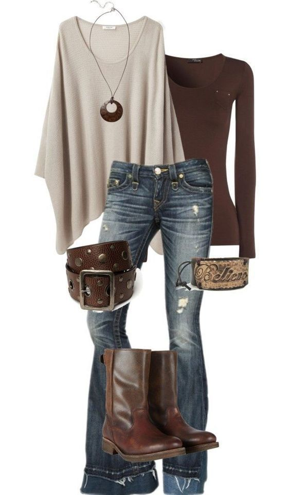 Love the colors, the warm sweater,boots, and the comfy feel of a good casual outfi
