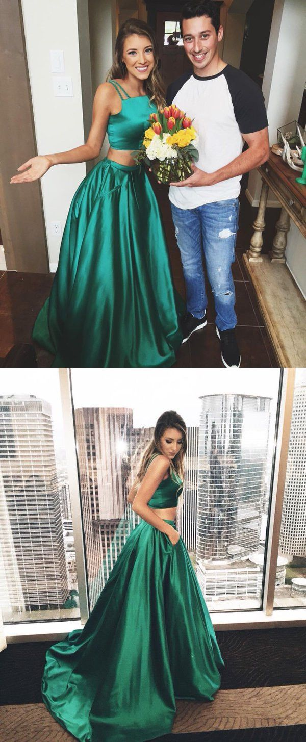 2017 prom dress, two piece prom dress, long prom dress, hunter green prom dress…