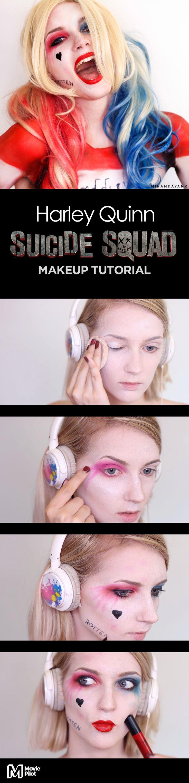 Via Creators.co   Harley Quinn 'Suicide Squad' Makeup Tutorial by Miranda Van Rijs