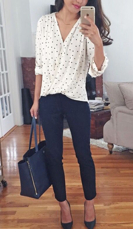 Loving this outfit, especially the blouse – would love a blouse like this in color