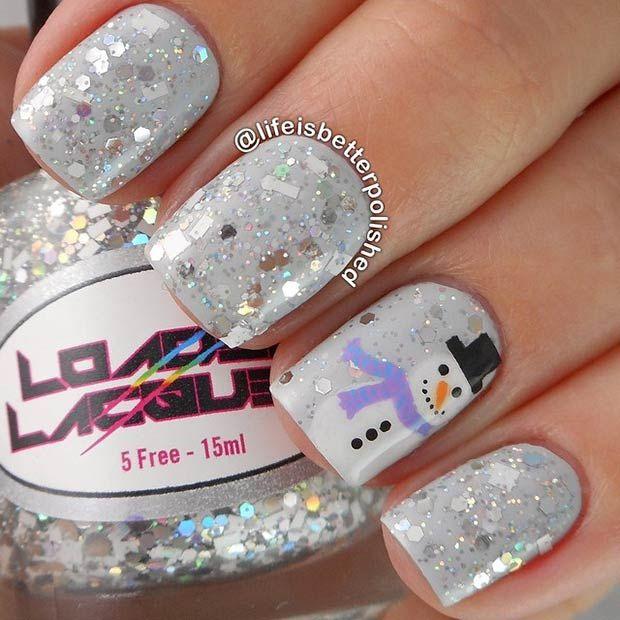 Sparkly Grey Snowman Manicure