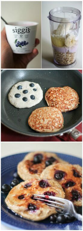 Healthy Pancakes made in the blender with oatmeal, yogurt, banana and an egg! Easy