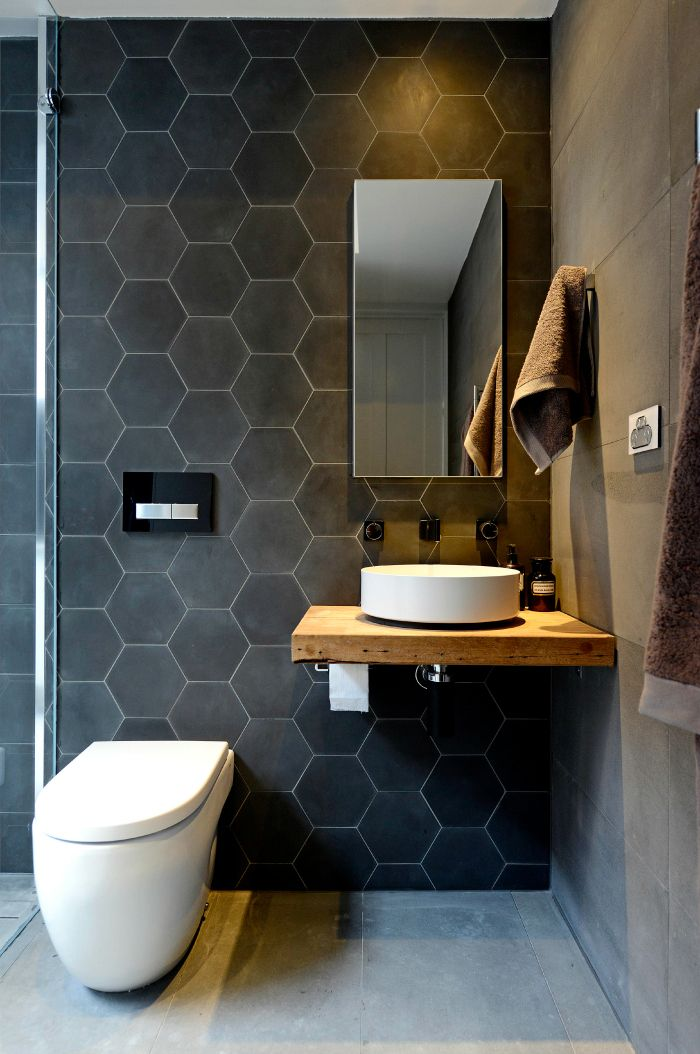 The Block: Bathrooms and Terrace Kyal and Kara – hexagon on the walls – large tile