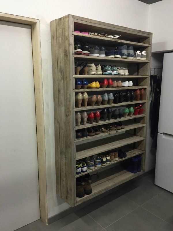 Giant Shoe Rack Made Out Of Discarded Pallets — but think in terms of canning and