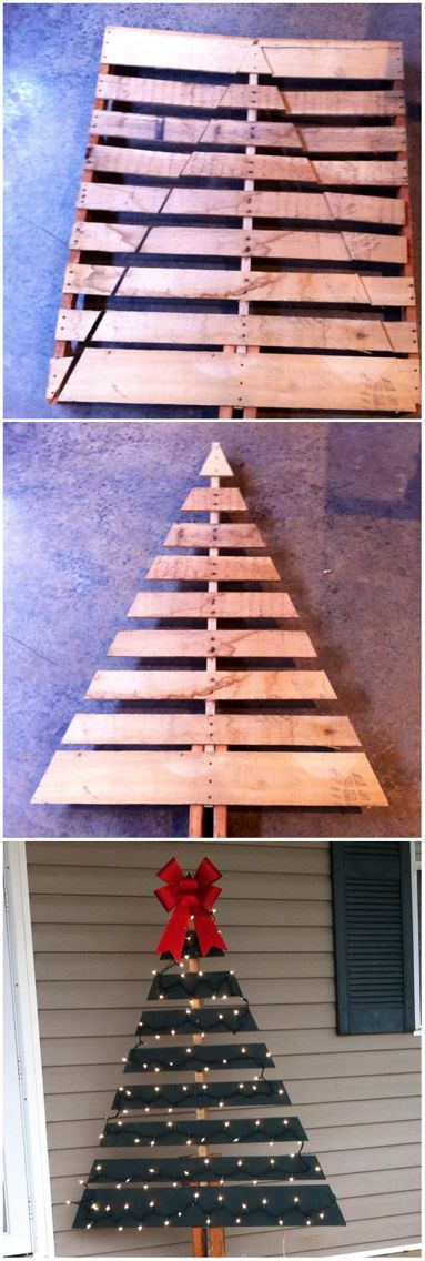 Wooden Skid/Shipping Board Christmas Tree- perfect for the front porch! made with