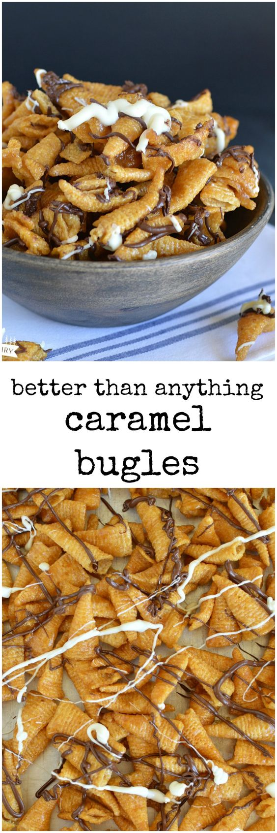 Caramel Bugles are crunchy, salty, sweet, chocolaty, and only take about five minu