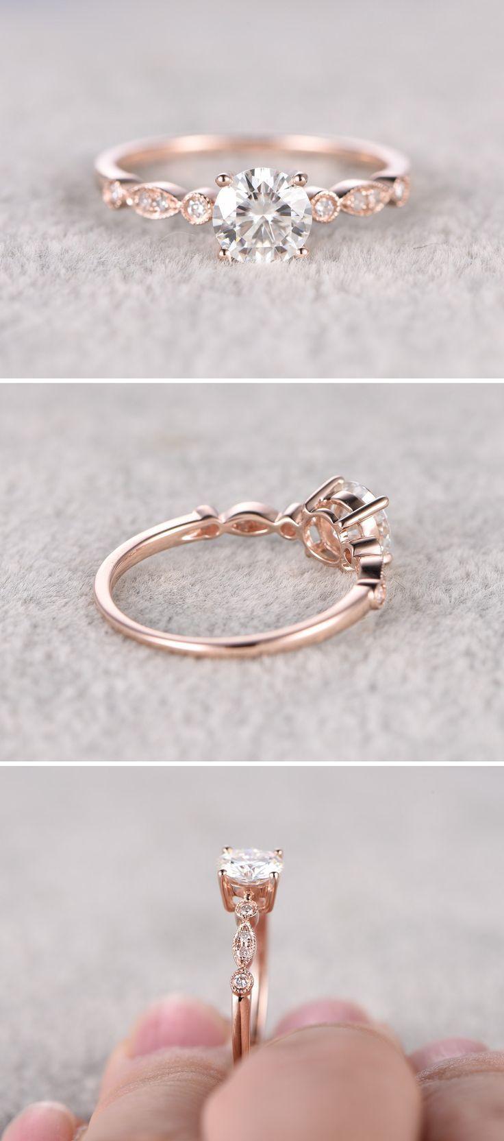 Moissanite in Rose Gold Engagement Ring www.pinterest.com… More
