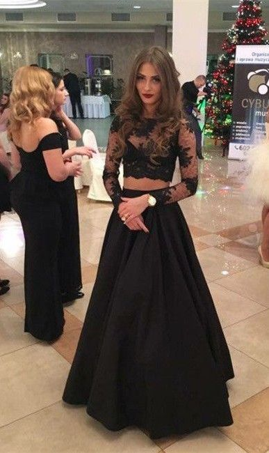 2 Piece Prom Gown,Two Piece Prom Dresses,Black Evening Gowns,2 Pieces Party Dresse