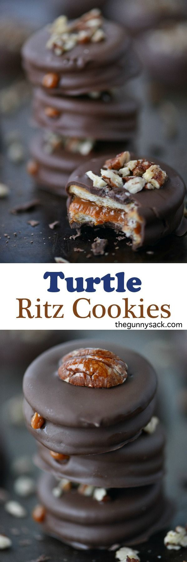 Turtle Ritz Cookies have a delicious layer of creamy caramel inside! Try them in a