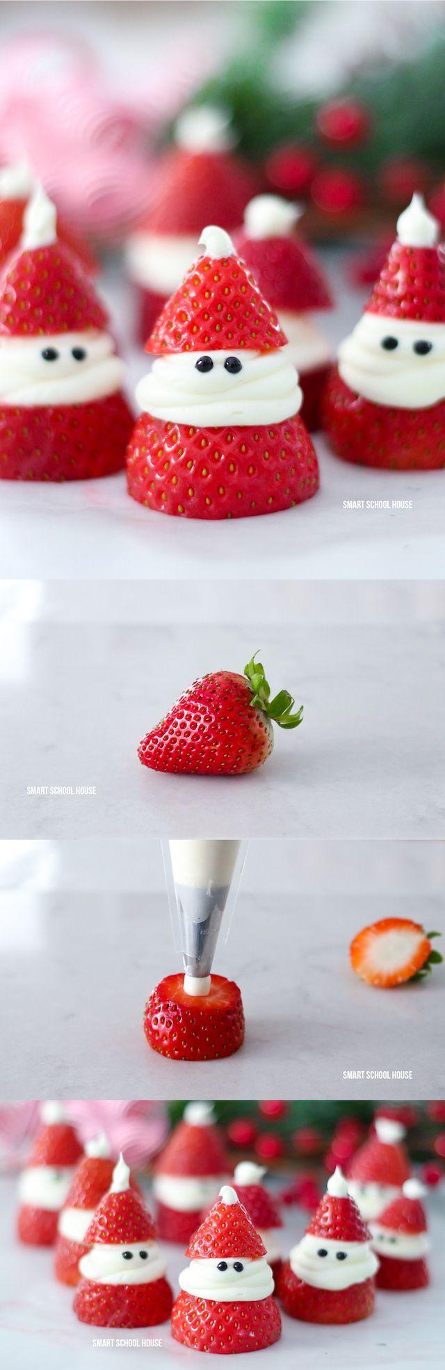 3-ingredient Strawberry Santas for Christmas! ADORABLE Christmas treat idea recipe