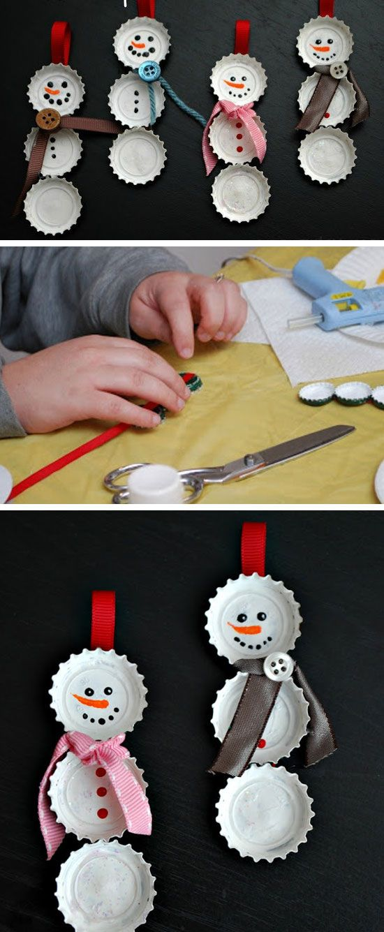 Snowman Bottle Cap Ornament | Click for 25 DIY Christmas Crafts for Kids to Make |