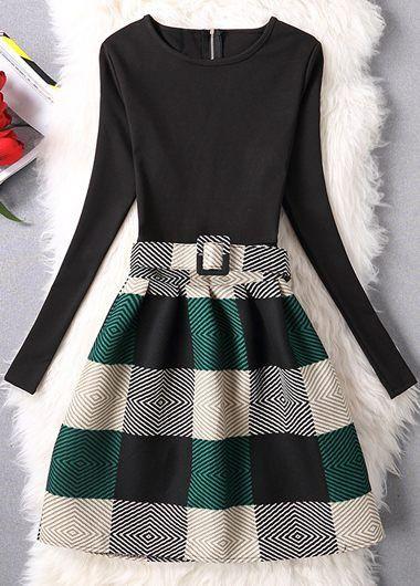 Belt Design Plaid Print A Line Dress  on sale only US$25.43 now, buy cheap Belt De