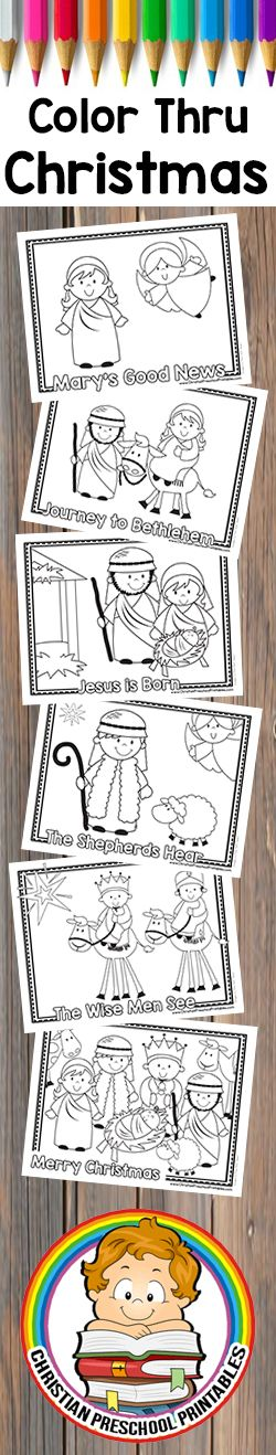 Free Early Reader Color Through the Christmas Story.  Nativity Story Coloring Page