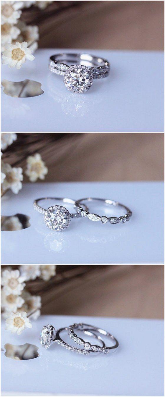 1ct Brilliant Moissanite Engagement Ring Set Solid 14K White Gold Wedding Ring…