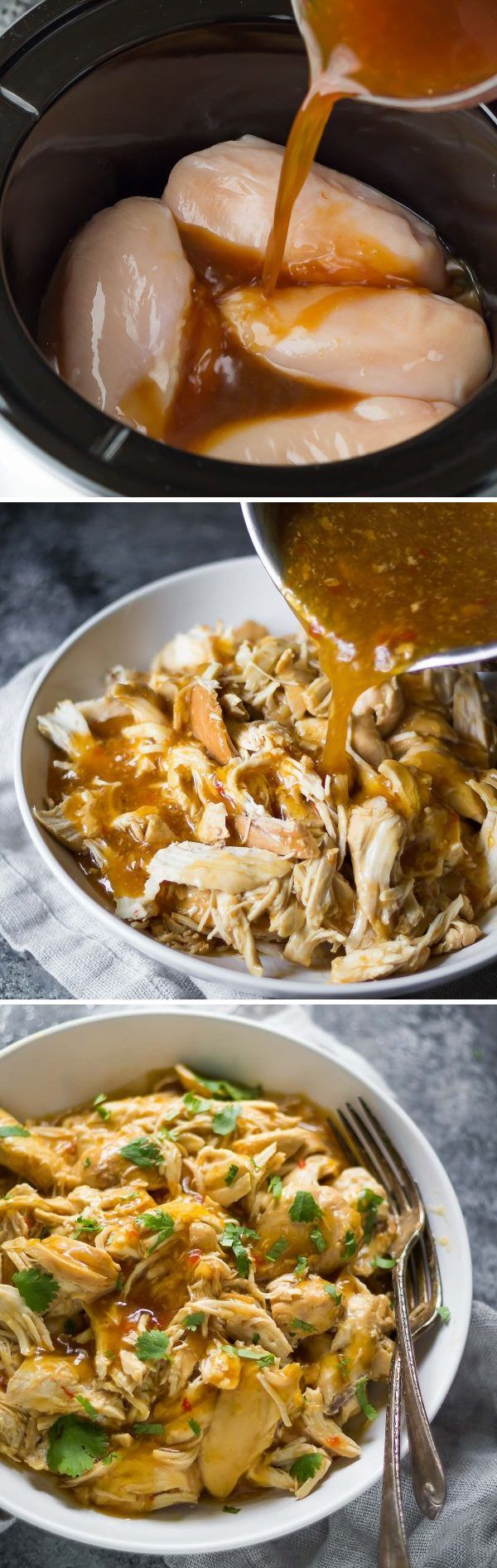 This slow cooker sweet chili chicken requires only 7 ingredients!  Plus 3 recipes