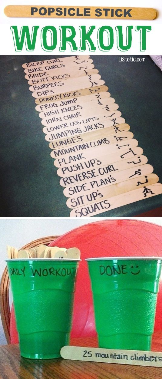 #4. The Popsicle Stick Workout — This fun exercise idea makes everyday a new chal