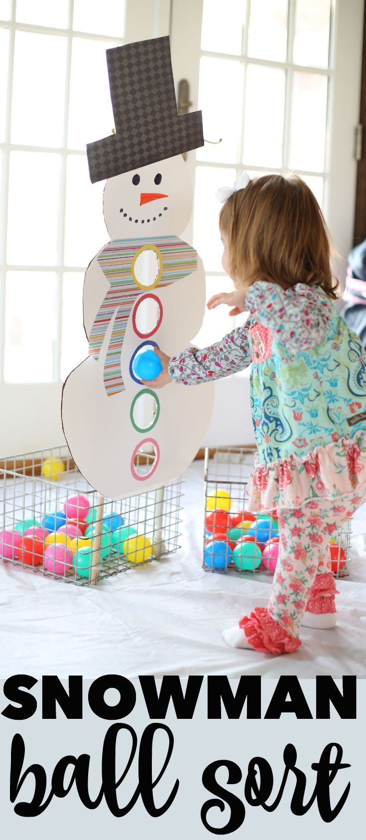Snowman Ball Sort: The perfect way to keep toddlers busy in the winter while encou