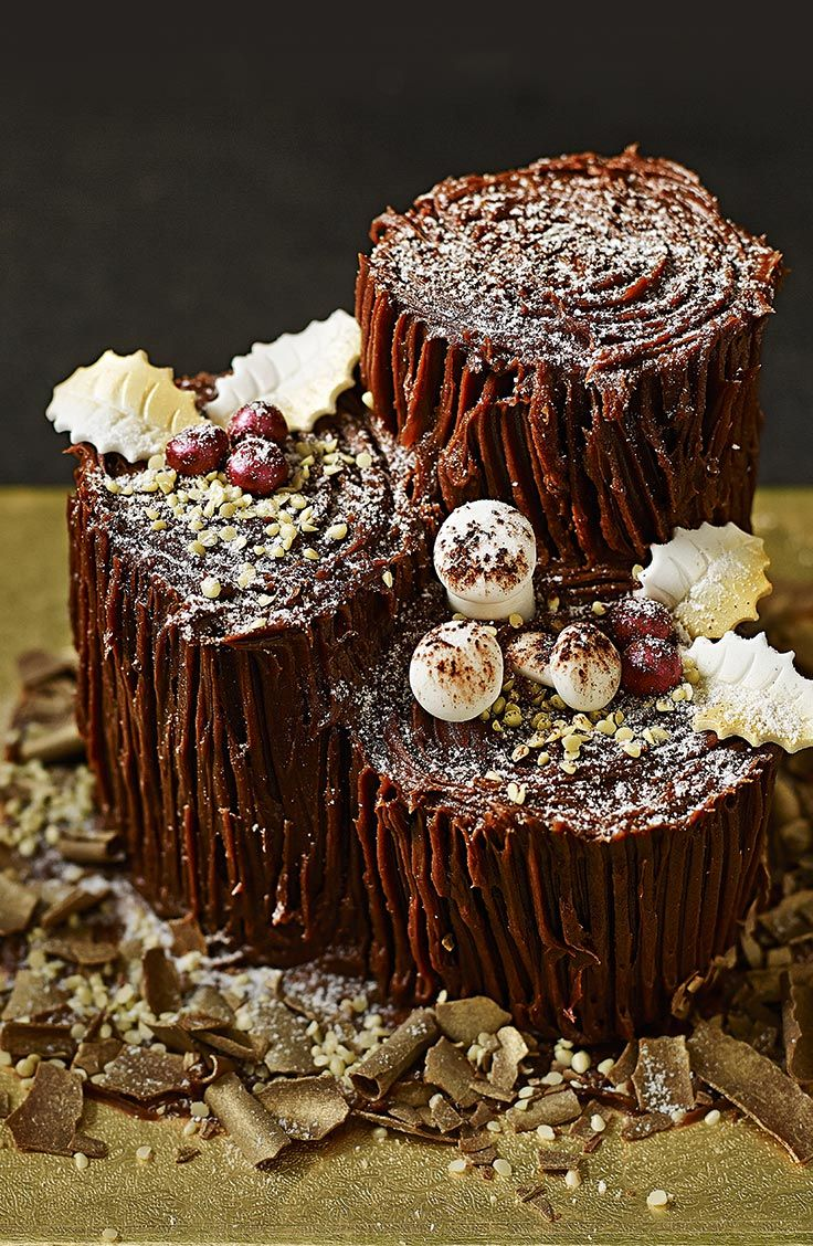 A magical twist on the traditional yule log… Chocolate Yule Log… buttercream,