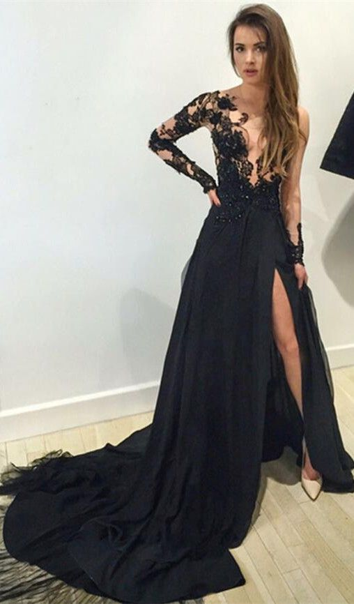 Black Long Sleeves Prom Dresses 2016 Lace Deep V Neck Thigh-High Slit Sexy Evening