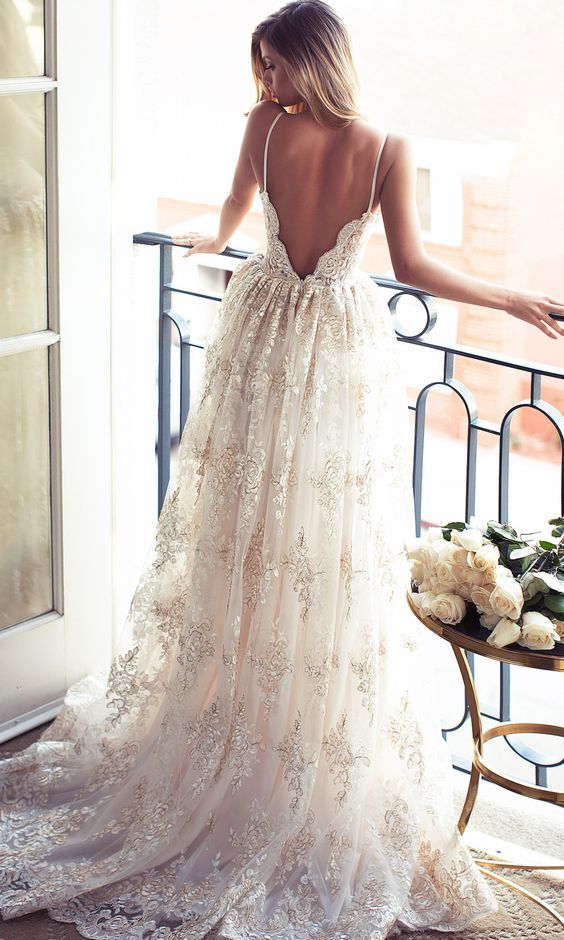 Lurelly vintage open back lace wedding dress / www.himisspuff.co…