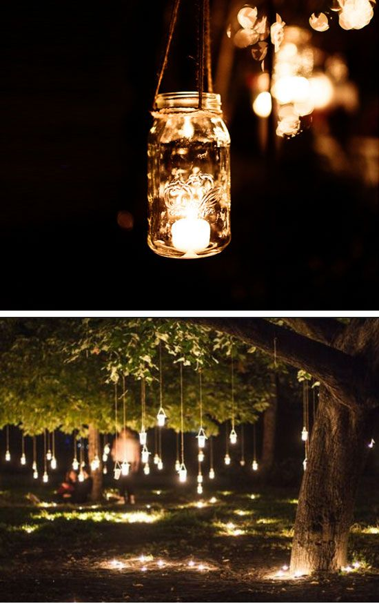 Hanging Mason Jar Fairy Lights | 15 DIY Outdoor Wedding Ideas on a Budget