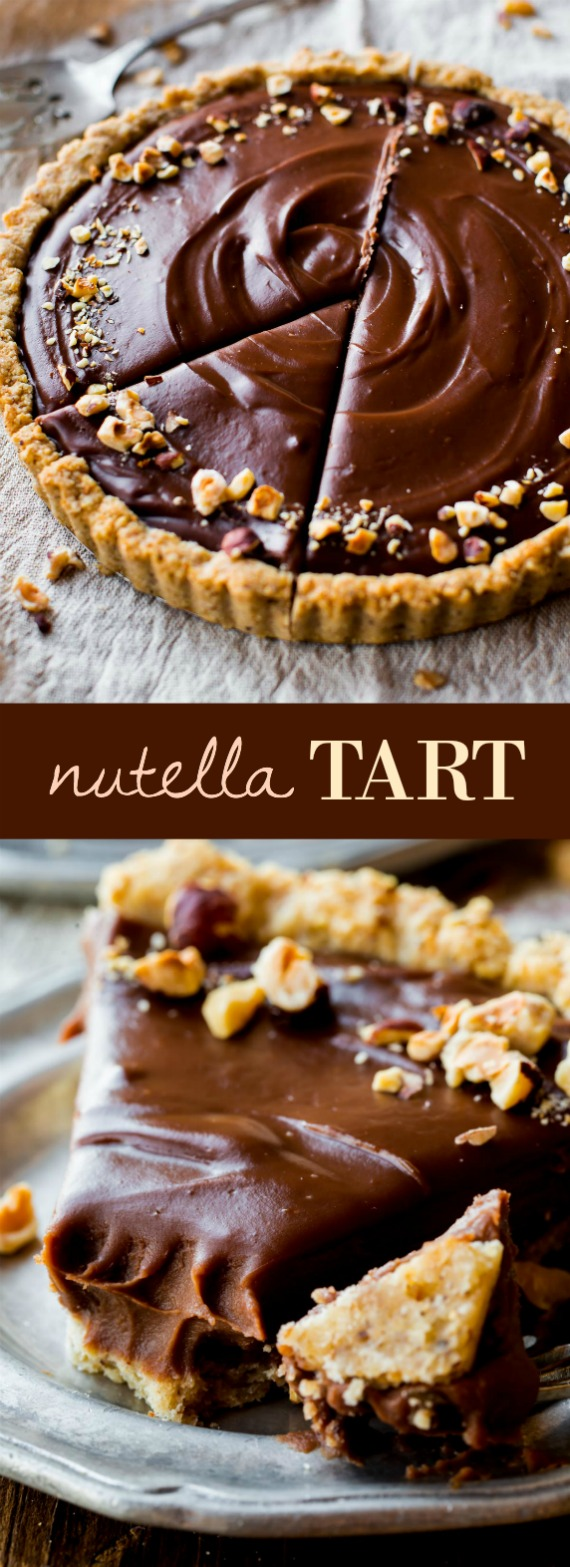Smooth and creamy Nutella tart complete with a toasted hazelnut crust.