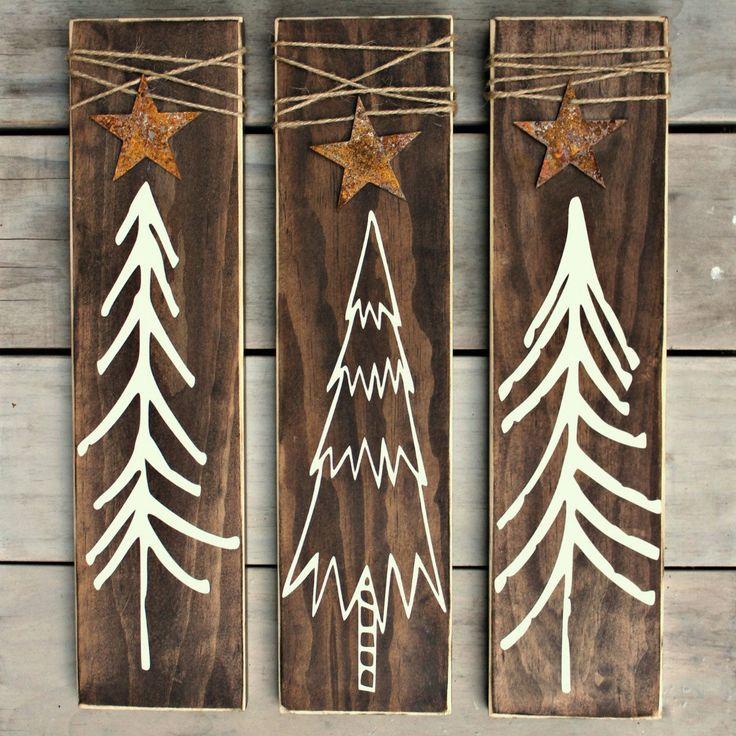 Christmas Tree Set of Signs – Rustic Christmas Decoration – Rustic Home Decor – Wo