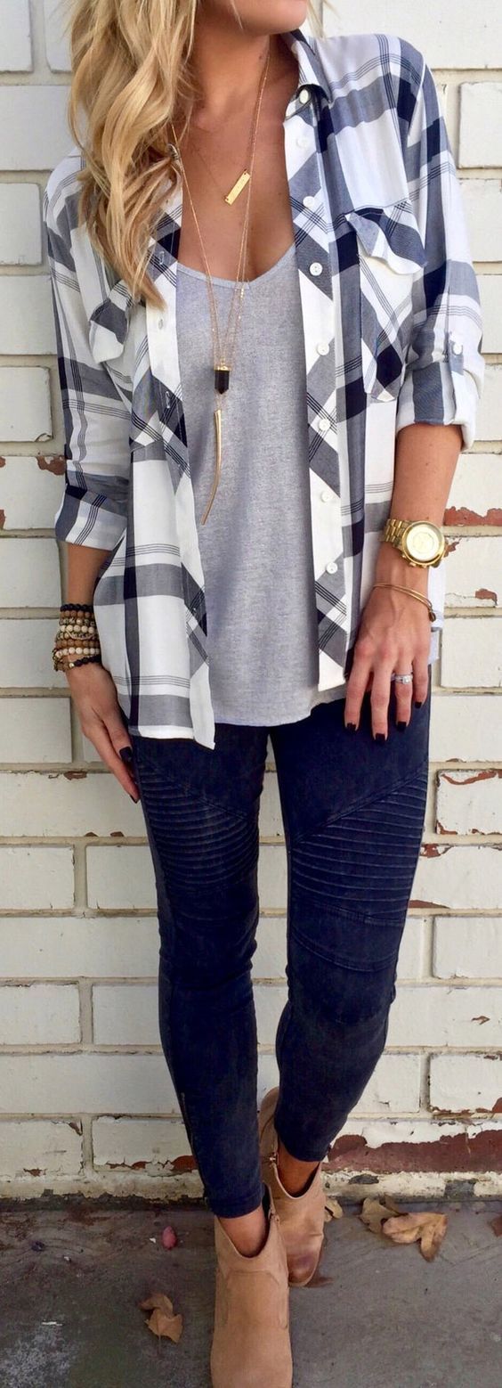 Only $26.99! This shirt is just what you want Black and White Plaid Pocket Long Sl