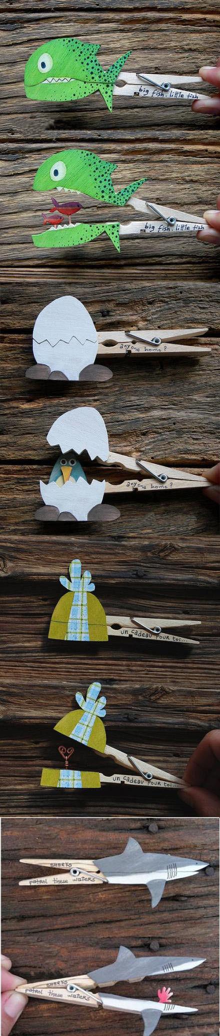 Con pinzas de la ropa y con dibujos de animales hechos en una cartulina, los niño