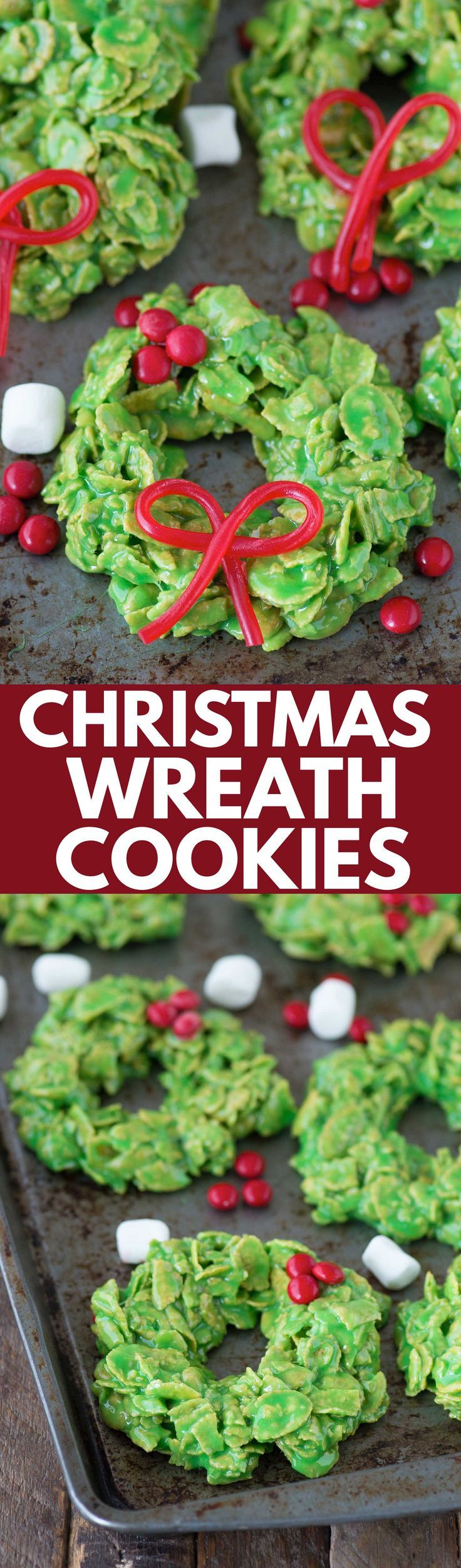 No bake christmas wreath cookies made with corn flakes and marshmallows! These onl