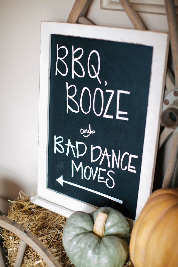 Directional signage to help your guests find your wedding reception. BBQ Booze and