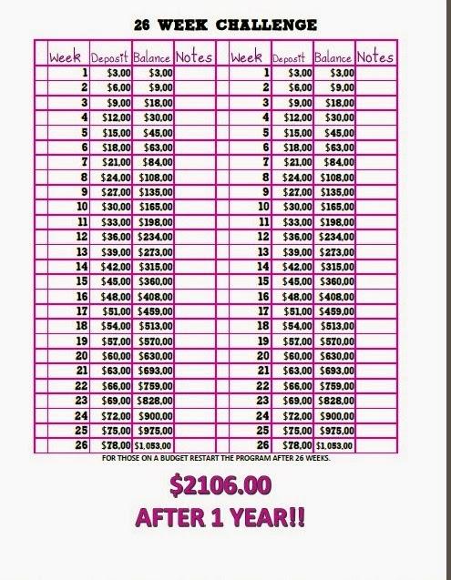 26 Week Money Challenge, free printable