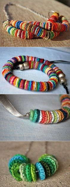 Crochet Circles for Necklace or Bracelet cute mexican folk art style crochet neckl