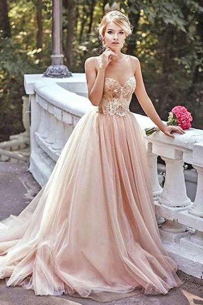 Modest Prom Dress,Lace Prom Dress,Blush Pink Prom Dresses,Evening Dress,Spaghetti