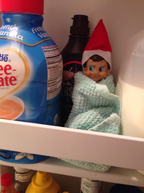 Elf on the *refrigerator* Shelf hah! Brrr…. its cold in here.