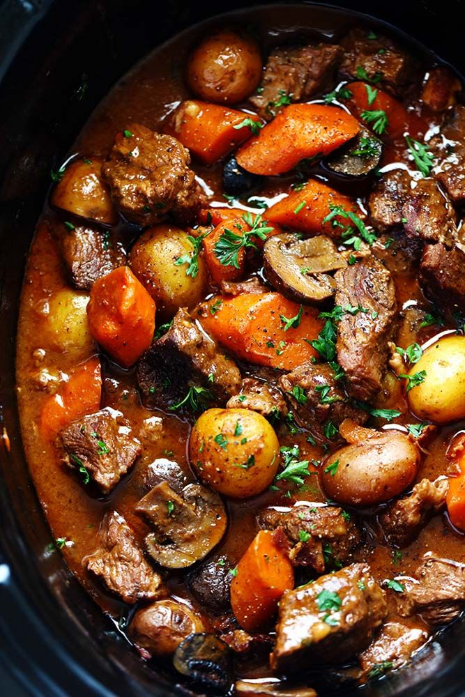 has crazy tender melt in your mouth beef and hearty veggies slow cooked to perfect