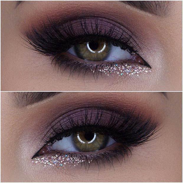 O glitter dourado abaixo da linha dágua no canto interno do olho fica perfei