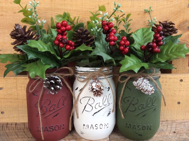 Painted Mason Jars. Christmas Decor. Vase. Home Decor. Holiday Decor. Rustic…