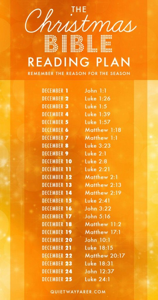 A Daily Christmas Bible Reading Plan with 25 short readings about the coming and b