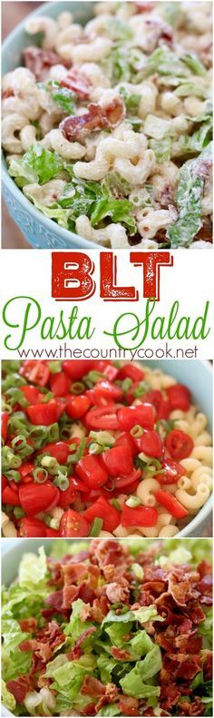 BLT Pasta Salad recipe at The Country Cook. Corkscrew pasta with lots of bacon and