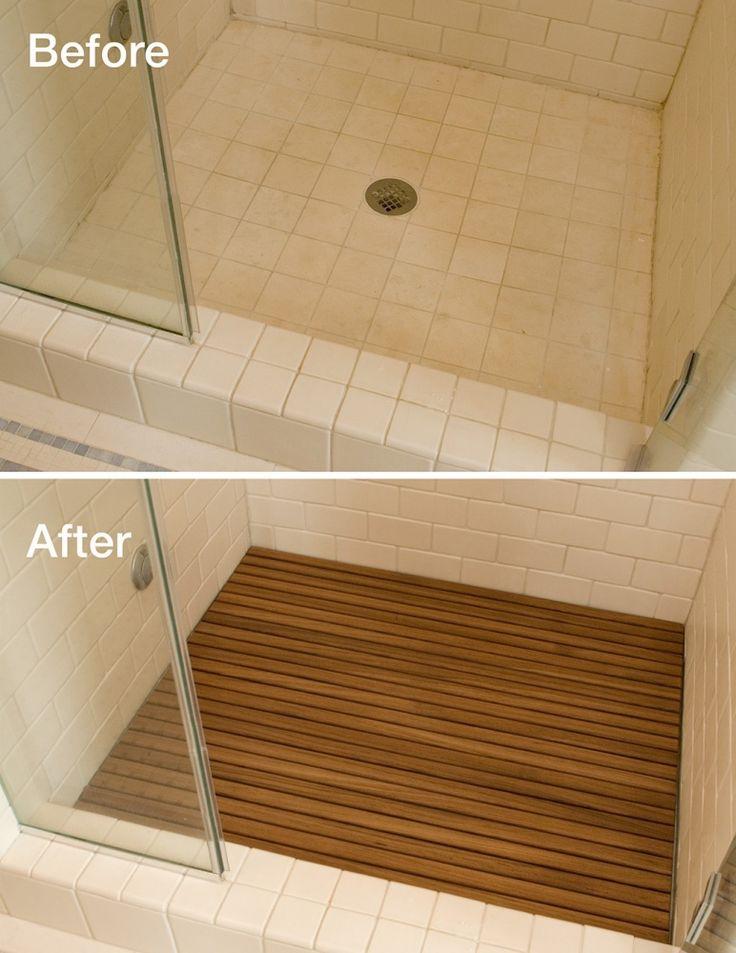 Adding teak to your shower floor instantly upgrades the look. Teak is a waterproof