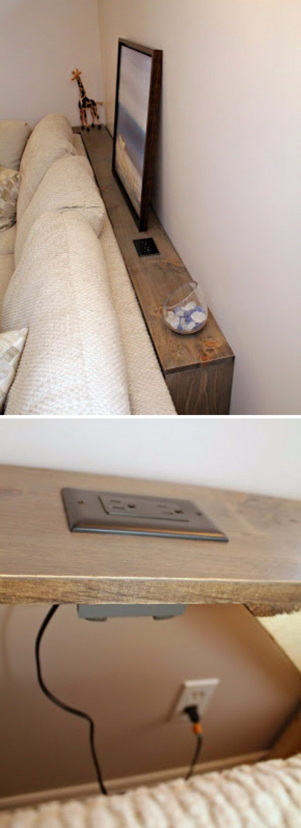 This DIY Sofa Table Behind Built In Outlets Allows You Plug In Your Electronics ..