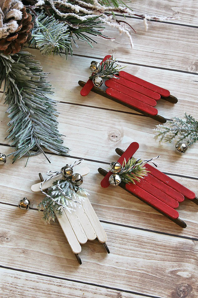 Rustic popsicle stick Christmas ornaments.  Perfect for hanging on the tree, using