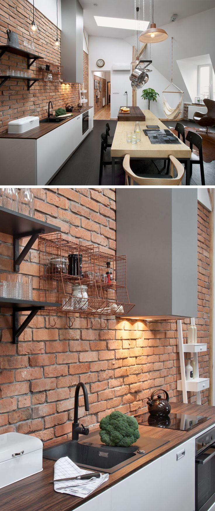 Throughout the apartment there are bright white walls, touches of brick and wood,