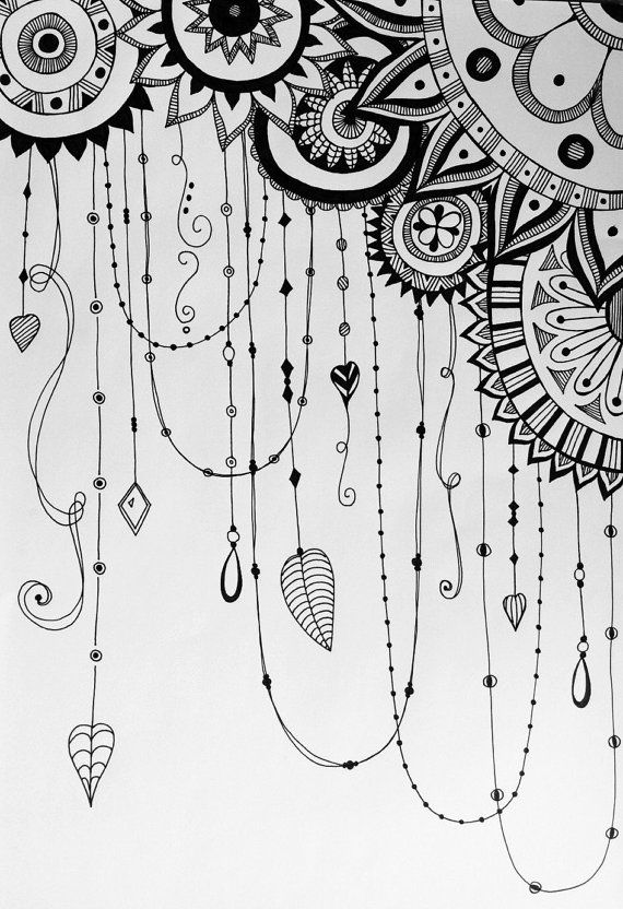 Hand drawn dreamcatcher variation zentangle by GreenEgoGifts